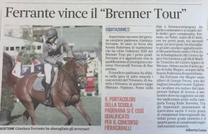 Gazzettino - Gianluca Ferrante vince il Brenner Tour
